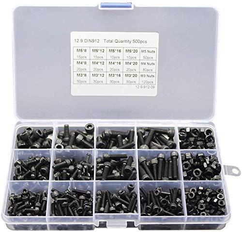 TXYFYP 500 Teile M3 M4 M5 Rostfrei Schraubenmutter Set, Carbon Stahl Schrauben und Muttern, Edelstahl Inbus Kopf Kappe Schrauben Muttern Sortiment Set - Schwarz, 500pcs