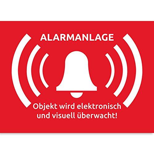 15 Alarmanlage Aufkleber Alarmgesichert 74 x 52 mm Alarmanlagen Aufkleber Wird überwacht - Premium Alarmanlage Aufkleber alarmaufkleber Einbruch