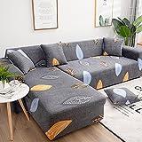 WXQY Funda de sofá con Estampado de Hojas Verdes a Rayas Rosa, Funda Protectora para Muebles, Funda de sofá de Estilo Moderno y Bonito A9 2 plazas