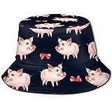Unisexe Mignon Cochon Rouge Arc Animal Cochon imprimé Voyage Seau Chapeau Chapeau de pêcheur d'été Chapeau de Soleil