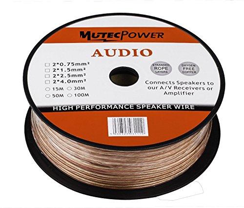 MutecPower 2x2.5mm² Trasparente PVC Cavo per Altoparlanti 50m (14 AWG) con Le marcature sequenziale M Ogni Metro 'Lunghezza 50 Meters'