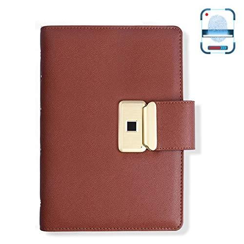 Smart Business Elektronische vingerafdrukvergrendeling Notebook, USB Pocket Personal Diary Planner Diary Organizer, cadeau voor volwassenen Mannen Vrouwen Teen,Pink