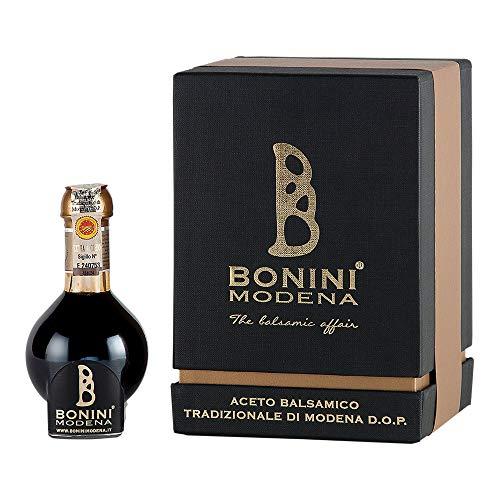 BONINI Productor de vinagre balsámico tradicional de Módena DOP, vinagre balsámico tradicional de Módena DOP 100 ml, envejecido en barriles de 25 años, Made in Italy