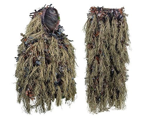 North Mountain Gear Hybrid Ghillie Suit for Men - Lightweight Hunting Camouflage - Woodland Brown - Airsoft Sniper Clothing XL/XXL