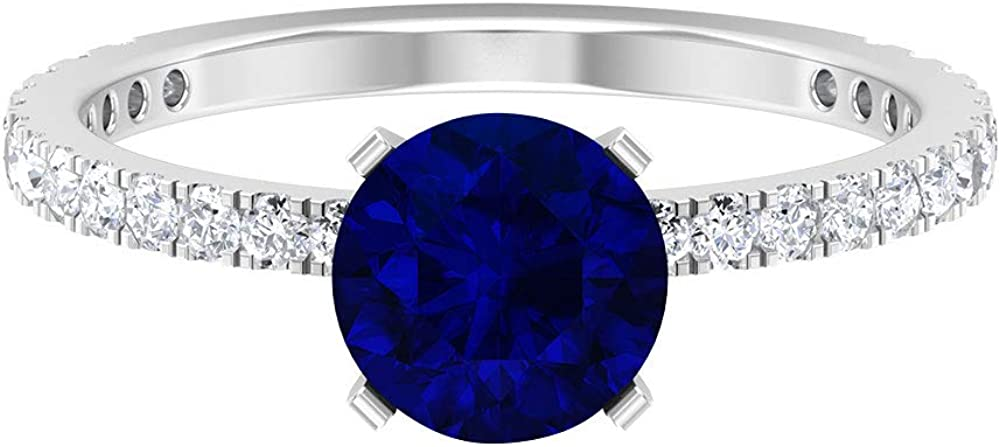 2 CT Created Blue Sapphire Engagement Ring with Diamond Side Stones(AAAA Quality), 14K White Gold, Blue Sapphire Lab Created, Size:US 12.5
