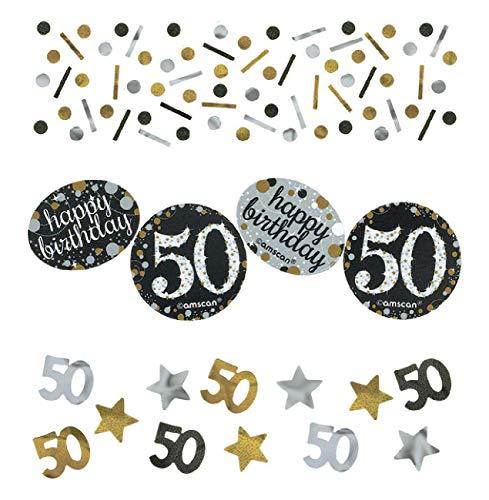Amscan 3601913 Tüten Konfetti * 50. GEBURTSTAG - SPARKLING * für eine Party mit 34 Gramm Inhalt Gold und Silber