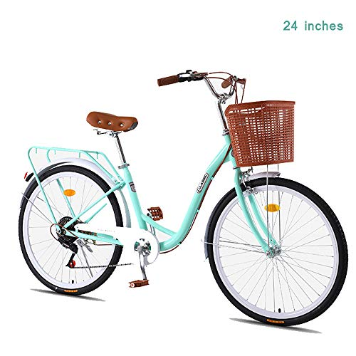 Single Speed Beach Cruiser Fahrrad, Bequemes Pendlerfahrrad Rahmen Aus Kohlenstoffhaltigem Stahl 24-Zoll / 26-Zoll-Räder Mehrere Farben,Light Green,24 inches