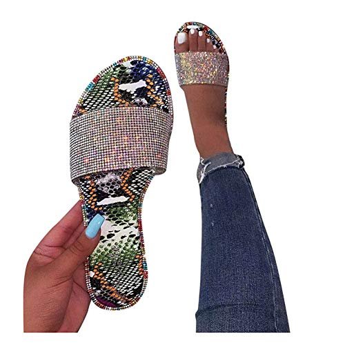Sandals for Women Wide Width,2020 New Comfy Platform Toe Ring Crystal Sandals Shoes Summer Beach Travel Shoes Comfortable Flip Flop Shoes