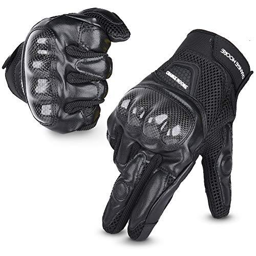 Guantes de Moto, Transpirables Verano Guantes con Pantalla Táctil Protección Dedo Completo, para Motocicleta, Deportes al Aire Libre Negro L