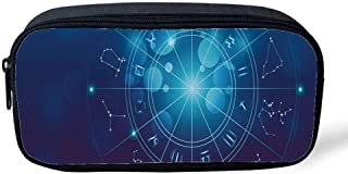 Astrology Multifunctional Pencil Bag,Fortune Telling Birth Chart Zodiac Signs in Space Geometrical Image Decorative for Birthday Festival,8