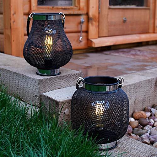 batteriebetriebene Designobjekt Metall Laterne, schwarz – mit Retro-Glühdraht LED Birne in warmweiß – TIMER-Funktion – von Festive Lights (A+B Kolben- & Globusform)