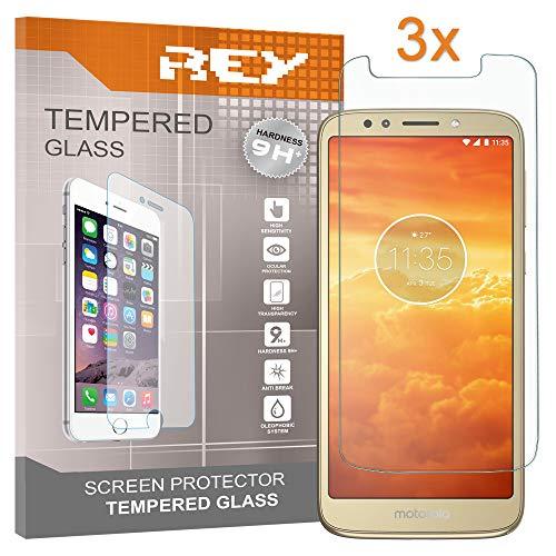 REY Pack 3X Panzerglas Schutzfolie für Motorola Moto E5, Bildschirmschutzfolie 9H+ Festigkeit, Anti-Kratzen, Anti-Öl, Anti-Bläschen