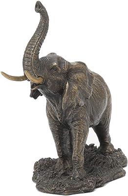 Veronese Design 4.9 Inch Elephant with Raised Trunk Antique Bronze Finish Polyresin Figurine Good Fortune Animal Statue