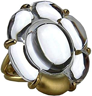 Baccarat Jewelry B Flower Vermeil Silver Clear Mirror Large Ring SZ 6,5 (53)