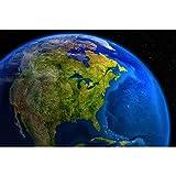 GREAT ART Mural de Pared ? América En El Día Fuera del Espacio ? Space Universe Obra Todas Las Planetas Continente Motivo Foto Papel Pintado Y Tapiz Y Decoración (210 x 140 cm)