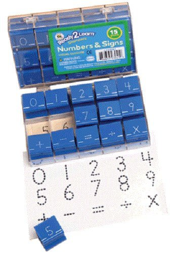 Ready 2 Learn Number and Sign Stamps - Dotted Lines - Set of 15 - Visual Closure, Rubber Math Stamps for Kids - Numbers 0-9
