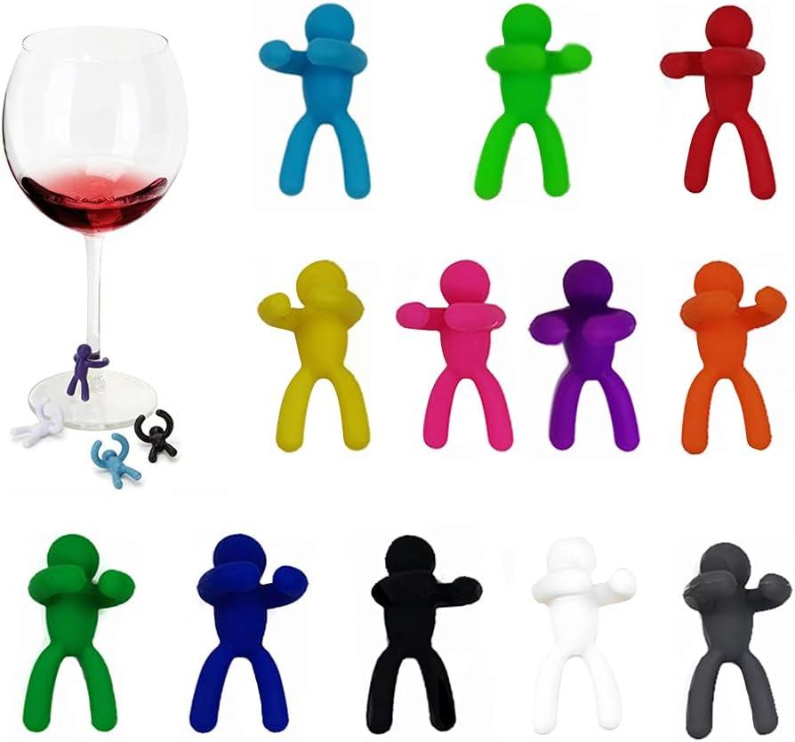 XGzhsa Marcador de copa de vino, marcadores de bebida, 12 piezas de marcadores de copa de vino Marcadores creativos de silicona para copa de vino para identificación y decoración de bebidas