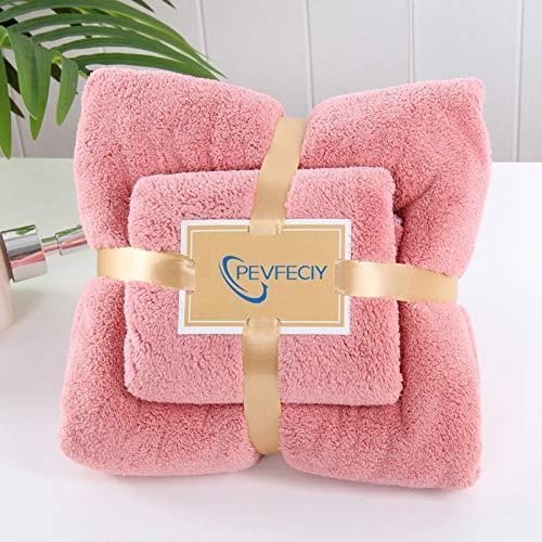 Las toallas de baño Conjunto, toalla de microfibra juego de ducha, toalla absorbente hotel Fundamentos de toallas Bale 1 toallas de baño y toallas de mano 1, ultra suave toallones extra grandes,Rose