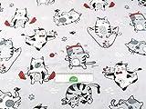 Stoffschreinerei 1m Baumwollstoff (Katzen Fitness rot)