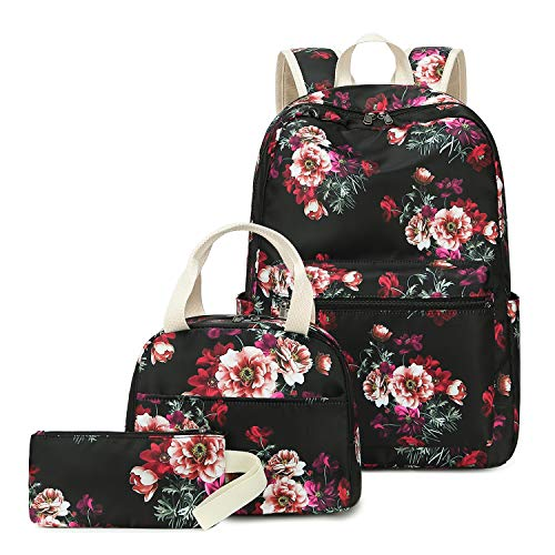 CAMTOP Floral School Backpack Teen Girls Bookbags Set 3 in 1 College Backpack Lunch Bag Pencil Case
