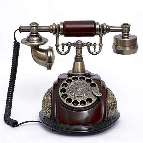 KAKTYY Teléfono Retro doméstico de línea Fija, Teléfono inalámbrico Vintage Rotary para el Valor de Almacenamiento de decoración del hogar.