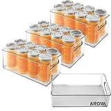Set of 4 Fridge Organizer, Premium Acrylic Refrigerator Organizer Bins, Stackable BPA-Free Clear Pantry Organizer Storage Bins for Fridge/Refridge/Refrigerator/Freeze