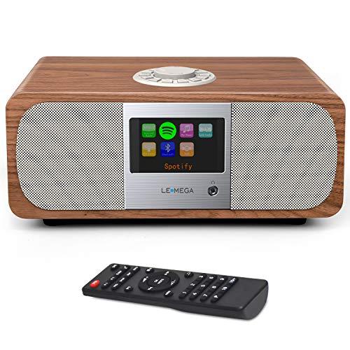 LEMEGA M3+ Smart Music System (2.1 Stereo) mit Wi-Fi, Internetradio, Spotify, Bluetooth, DLNA, DAB, DAB+, UKW-Radio, Uhr, Wecker, Voreinstellungen und drahtloser App-Steuerung - Nussbaum