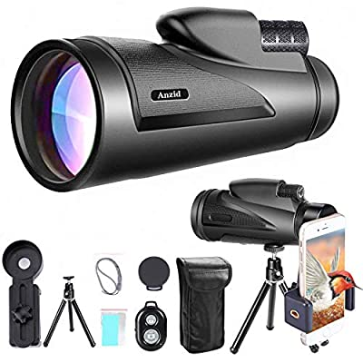 Monocular Telescope for Adults, 12X50 HD Monocular with Smartphone Holder & Tripod High Power Zoom BAK4 Prism Dual Focus & FMC Waterproof Monocular for Bird Watching, Camping, Hiking