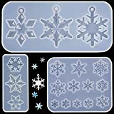 3 Pieces Snowflake Silicone Moulds, DIY Silicone Pendant Mold Making Resin Casting Mold for Holiday Craft Supplies