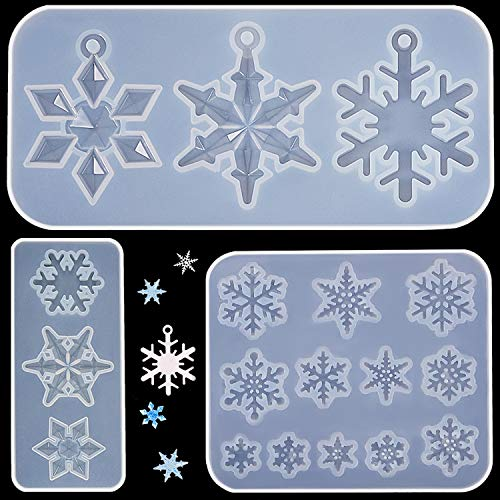 3 Pieces Snowflake Silicone Moulds, DIY Silicone Pendant Mold Making Resin Casting Mold for Christmas Holiday Craft Supplies