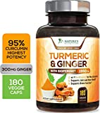 Turmeric Curcumin 95% Curcuminoids with BioPerine and Ginger 1950mg - Black Pepper for Best Absorption, Made in USA, Best Vegan Joint Support, Turmeric Ginger Supplement Pills - 180 Capsules