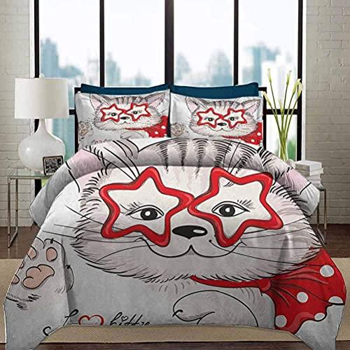 Juego de funda nórdica para ropa de cama para niños, relajado, tacto suave, aspecto natural, retrato de moda, gato inconformista con gafas en forma de estrella y lazo, juego de cama decorativo de 3 pi