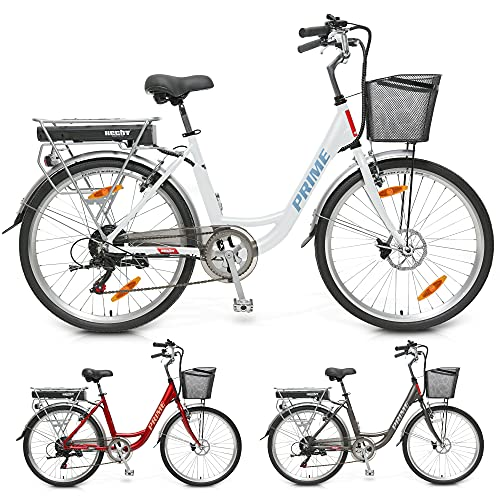 HECHT leichtes 26 Zoll City E-Bike Elektrofahrrad E Bike Pedelec für Herren und Damen mit 36V/10Ah – 250 Watt Motor – Premium 7-Gang Kettenschaltung – Scheibenbremsen – LED-Beleuchtung – Fahrrad Korb