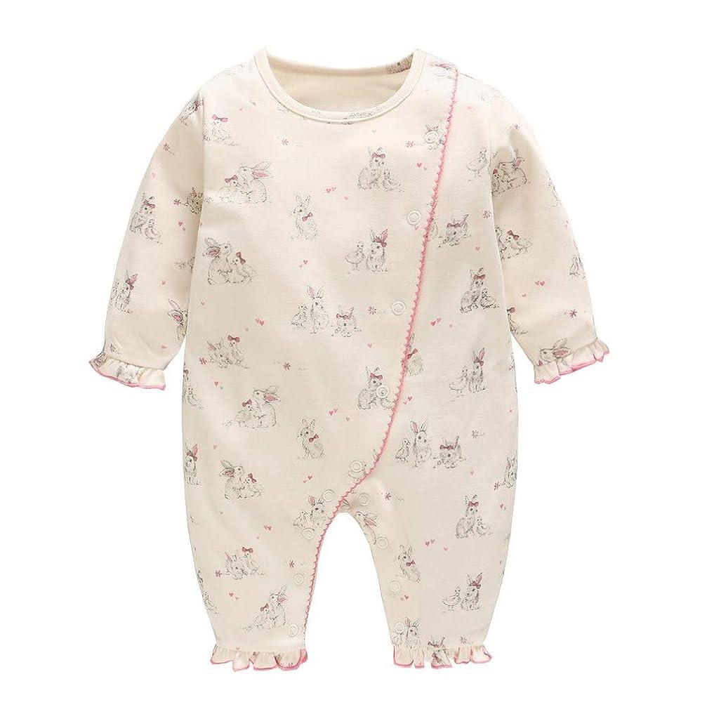治安判事順番管理しますBaby nest ベビー服 女の子 長袖ロンパース 前開き カバーオール 新生児服 かわいい ウサギ 9-12ヶ月