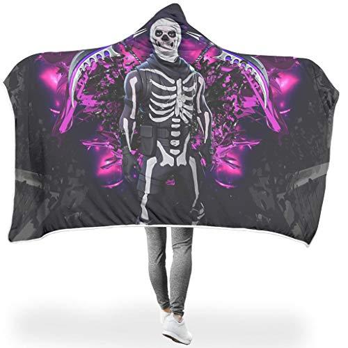 O5KFD&8 Fledermausdecke Skull Man with Axe and Sword Design Gedruckt Prämie Weich Kapuze Robe - Purple Groß Geeignet für Frauen/Männer Verwenden White #60 * 40#