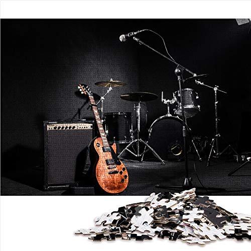Visionpz Rompecabezas de 1000 Piezas para Juguetes de niños Adultos Instrumento de Rock Rompecabezas de desafío Cerebral Music Rompecabezas Regalo Personalizado Rompecabezas de Juguete 52x38cm