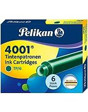 Pelikan 300087 wkład atramentowy 4001, ciemnozielony, 6 wkładów w składanym pudełku