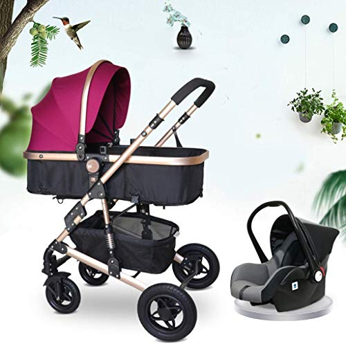 Lowest Price! Cozy Anti-Shock Baby Stroller 3 in 1,Toddler Stroller,Reinforced Frame for Safety,Pram,Quick Fold Baby Carriage (Color : Brown) (Color : Purple)