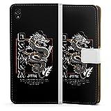 DeinDesign Etui Compatible avec Sony Xperia Z3 Etui Folio Etui magnetique Japon Dragon Mer