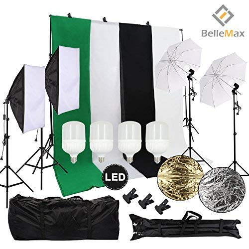 Belle Max Photography Lighting Kit (2 Softbox & 2 Umbrellas) with 4...