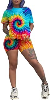 kaimimei Women 2 Piece Outfit Casual Short Sleeve Tie Dye T-Shirts Bodycon Shorts Set Jumpsuit Rompers Tracksuit