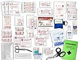Komplett-Set Erste-Hilfe DIN 13157 EN 13 157 PLUS 4 für Betriebe mit Sprühpflaster, Hygiene-Ausstattung, Notfallbeatmungshilfe & Verbandbuch