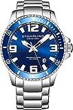 Stührling Original 395.33U16 - Reloj analógico para Hombre, Correa de Acero Inoxidable, Color Plateado