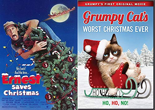 Santa's Bag Double Holiday Feature: Ernest Saves Christmas + Grumpy Cats Worst Christmas Ever Wacky 2-Pack Comedy DVD Bundle