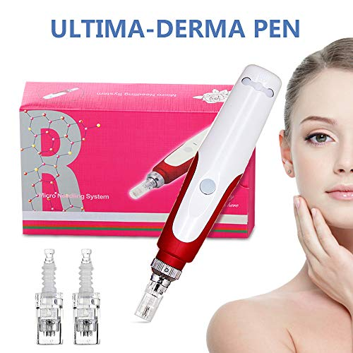 Derma Pen, einstellbar 0,25-2,0 mm Bajonett-Typ mit 2 Stück Patronen, für Gesicht und Körper, Rot