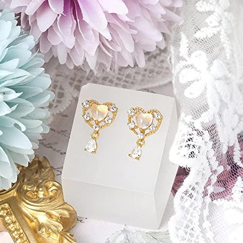 LOKILOKI Pendiente De Plata 925 para Mujer, Vive Sweety Heart, Piedra Preciosa De Cuarzo Rosa Natural, Chapado En Oro, Joyería Fina