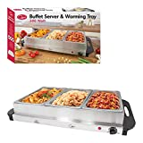 Quest 16510 Large Buffet Server and Warming Tray / 3 x 2.4L Trays / 300W / Rapid Heating / Adjustable Thermostat / Lids Included