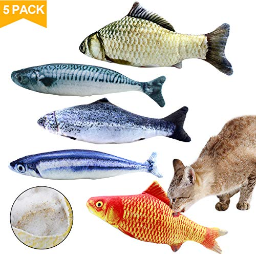Natuce 5pcs Juguete Hierba Gatera, 20CM Juguete para Gato,Catnip Juguetes, Forma de pez, Juguetes Simulación Peluches Pescado, Juguetes para Mascotas, Pescados del Juguete,Interactiva Mascota