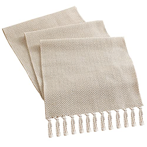 Gukasxi Cotton Flax Table Runner 180 x 33cm, Home Table Runner for 8 Seater Dining, Cotton Weave Washable Table Runner with Tassels for Home Kitchen Wedding Decoration, Indoor and Outdoor Use