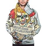 Sudadera con Capucha para Hombre Pin Up Girl Skull Logo Sudadera XL...